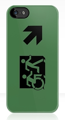 Accessible Exit Sign Project Wheelchair Wheelie Running Man Symbol Means of Egress Icon Disability Emergency Evacuation Fire Safety iPhone Case 83