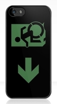 Accessible Exit Sign Project Wheelchair Wheelie Running Man Symbol Means of Egress Icon Disability Emergency Evacuation Fire Safety iPhone Case 84