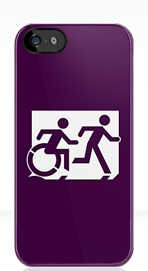 Accessible Exit Sign Project Wheelchair Wheelie Running Man Symbol Means of Egress Icon Disability Emergency Evacuation Fire Safety iPhone Case 86