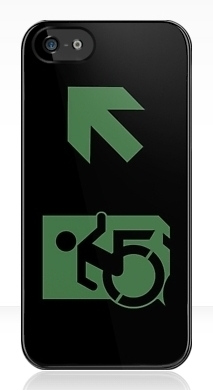 Accessible Exit Sign Project Wheelchair Wheelie Running Man Symbol Means of Egress Icon Disability Emergency Evacuation Fire Safety iPhone Case 89