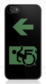 Accessible Exit Sign Project Wheelchair Wheelie Running Man Symbol Means of Egress Icon Disability Emergency Evacuation Fire Safety iPhone Case 91