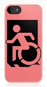 Accessible Exit Sign Project Wheelchair Wheelie Running Man Symbol Means of Egress Icon Disability Emergency Evacuation Fire Safety iPhone Case 93