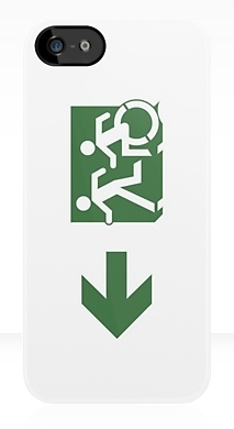 Accessible Exit Sign Project Wheelchair Wheelie Running Man Symbol Means of Egress Icon Disability Emergency Evacuation Fire Safety iPhone Case 95