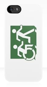 Accessible Exit Sign Project Wheelchair Wheelie Running Man Symbol Means of Egress Icon Disability Emergency Evacuation Fire Safety iPhone Case 96