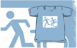 Accessible Exit Sign Project Wheelchair Wheelie Running Man Symbol Means of Egress Icon Disability Emergency Evacuation Fire Safety Kids T-shirt 100