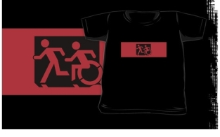 Accessible Exit Sign Project Wheelchair Wheelie Running Man Symbol Means of Egress Icon Disability Emergency Evacuation Fire Safety Kids T-shirt 102