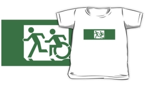 Accessible Exit Sign Project Wheelchair Wheelie Running Man Symbol Means of Egress Icon Disability Emergency Evacuation Fire Safety Kids T-shirt 103