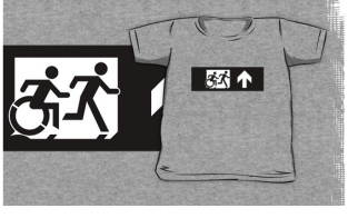 Accessible Exit Sign Project Wheelchair Wheelie Running Man Symbol Means of Egress Icon Disability Emergency Evacuation Fire Safety Kids T-shirt 105