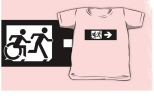 Accessible Exit Sign Project Wheelchair Wheelie Running Man Symbol Means of Egress Icon Disability Emergency Evacuation Fire Safety Kids T-shirt 107
