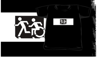 Accessible Exit Sign Project Wheelchair Wheelie Running Man Symbol Means of Egress Icon Disability Emergency Evacuation Fire Safety Kids T-shirt 108