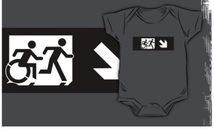 Accessible Exit Sign Project Wheelchair Wheelie Running Man Symbol Means of Egress Icon Disability Emergency Evacuation Fire Safety Kids T-shirt 111