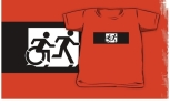 Accessible Exit Sign Project Wheelchair Wheelie Running Man Symbol Means of Egress Icon Disability Emergency Evacuation Fire Safety Kids T-shirt 118
