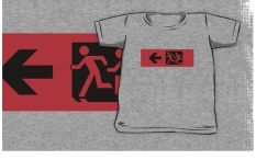Accessible Exit Sign Project Wheelchair Wheelie Running Man Symbol Means of Egress Icon Disability Emergency Evacuation Fire Safety Kids T-shirt 12