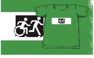 Accessible Exit Sign Project Wheelchair Wheelie Running Man Symbol Means of Egress Icon Disability Emergency Evacuation Fire Safety Kids T-shirt 120