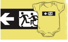 Accessible Exit Sign Project Wheelchair Wheelie Running Man Symbol Means of Egress Icon Disability Emergency Evacuation Fire Safety Kids T-shirt 124