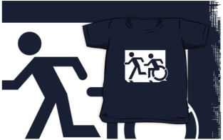 Accessible Exit Sign Project Wheelchair Wheelie Running Man Symbol Means of Egress Icon Disability Emergency Evacuation Fire Safety Kids T-shirt 125