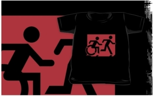 Accessible Exit Sign Project Wheelchair Wheelie Running Man Symbol Means of Egress Icon Disability Emergency Evacuation Fire Safety Kids T-shirt 128