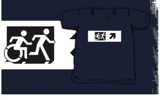 Accessible Exit Sign Project Wheelchair Wheelie Running Man Symbol Means of Egress Icon Disability Emergency Evacuation Fire Safety Kids T-shirt 129