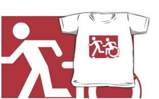 Accessible Exit Sign Project Wheelchair Wheelie Running Man Symbol Means of Egress Icon Disability Emergency Evacuation Fire Safety Kids T-shirt 131