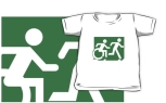 Accessible Exit Sign Project Wheelchair Wheelie Running Man Symbol Means of Egress Icon Disability Emergency Evacuation Fire Safety Kids T-shirt 134