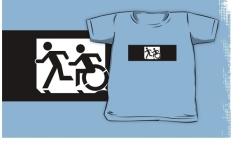 Accessible Exit Sign Project Wheelchair Wheelie Running Man Symbol Means of Egress Icon Disability Emergency Evacuation Fire Safety Kids T-shirt 136