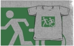 Accessible Exit Sign Project Wheelchair Wheelie Running Man Symbol Means of Egress Icon Disability Emergency Evacuation Fire Safety Kids T-shirt 137