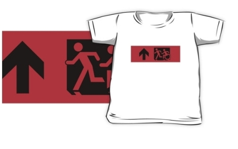 Accessible Exit Sign Project Wheelchair Wheelie Running Man Symbol Means of Egress Icon Disability Emergency Evacuation Fire Safety Kids T-shirt 14