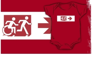 Accessible Exit Sign Project Wheelchair Wheelie Running Man Symbol Means of Egress Icon Disability Emergency Evacuation Fire Safety Kids T-shirt 142