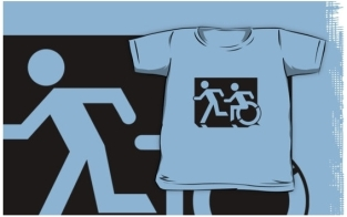 Accessible Exit Sign Project Wheelchair Wheelie Running Man Symbol Means of Egress Icon Disability Emergency Evacuation Fire Safety Kids T-shirt 143