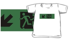 Accessible Exit Sign Project Wheelchair Wheelie Running Man Symbol Means of Egress Icon Disability Emergency Evacuation Fire Safety Kids T-shirt 145
