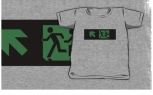 Accessible Exit Sign Project Wheelchair Wheelie Running Man Symbol Means of Egress Icon Disability Emergency Evacuation Fire Safety Kids T-shirt 146