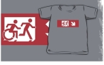 Accessible Exit Sign Project Wheelchair Wheelie Running Man Symbol Means of Egress Icon Disability Emergency Evacuation Fire Safety Kids T-shirt 147