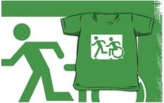 Accessible Exit Sign Project Wheelchair Wheelie Running Man Symbol Means of Egress Icon Disability Emergency Evacuation Fire Safety Kids T-shirt 148