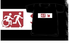 Accessible Exit Sign Project Wheelchair Wheelie Running Man Symbol Means of Egress Icon Disability Emergency Evacuation Fire Safety Kids T-shirt 149
