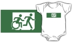 Accessible Exit Sign Project Wheelchair Wheelie Running Man Symbol Means of Egress Icon Disability Emergency Evacuation Fire Safety Kids T-shirt 15