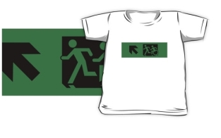 Accessible Exit Sign Project Wheelchair Wheelie Running Man Symbol Means of Egress Icon Disability Emergency Evacuation Fire Safety Kids T-shirt 150