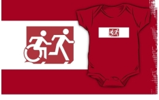 Accessible Exit Sign Project Wheelchair Wheelie Running Man Symbol Means of Egress Icon Disability Emergency Evacuation Fire Safety Kids T-shirt 153