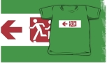 Accessible Exit Sign Project Wheelchair Wheelie Running Man Symbol Means of Egress Icon Disability Emergency Evacuation Fire Safety Kids T-shirt 157