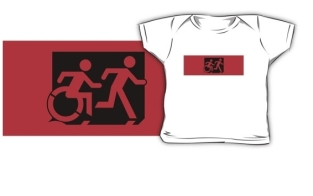 Accessible Exit Sign Project Wheelchair Wheelie Running Man Symbol Means of Egress Icon Disability Emergency Evacuation Fire Safety Kids T-shirt 16