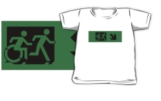 Accessible Exit Sign Project Wheelchair Wheelie Running Man Symbol Means of Egress Icon Disability Emergency Evacuation Fire Safety Kids T-shirt 160