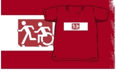 Accessible Exit Sign Project Wheelchair Wheelie Running Man Symbol Means of Egress Icon Disability Emergency Evacuation Fire Safety Kids T-shirt 165