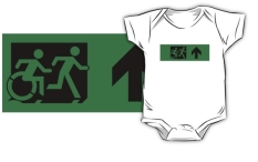 Accessible Exit Sign Project Wheelchair Wheelie Running Man Symbol Means of Egress Icon Disability Emergency Evacuation Fire Safety Kids T-shirt 166