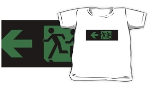Accessible Exit Sign Project Wheelchair Wheelie Running Man Symbol Means of Egress Icon Disability Emergency Evacuation Fire Safety Kids T-shirt 169