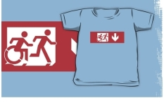 Accessible Exit Sign Project Wheelchair Wheelie Running Man Symbol Means of Egress Icon Disability Emergency Evacuation Fire Safety Kids T-shirt 170