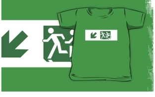 Accessible Exit Sign Project Wheelchair Wheelie Running Man Symbol Means of Egress Icon Disability Emergency Evacuation Fire Safety Kids T-shirt 175