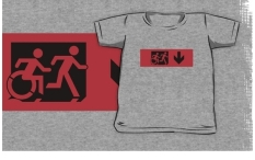 Accessible Exit Sign Project Wheelchair Wheelie Running Man Symbol Means of Egress Icon Disability Emergency Evacuation Fire Safety Kids T-shirt 18