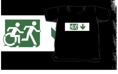 Accessible Exit Sign Project Wheelchair Wheelie Running Man Symbol Means of Egress Icon Disability Emergency Evacuation Fire Safety Kids T-shirt 183