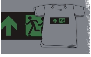 Accessible Exit Sign Project Wheelchair Wheelie Running Man Symbol Means of Egress Icon Disability Emergency Evacuation Fire Safety Kids T-shirt 192