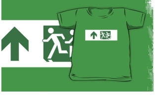 Accessible Exit Sign Project Wheelchair Wheelie Running Man Symbol Means of Egress Icon Disability Emergency Evacuation Fire Safety Kids T-shirt 196