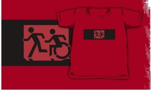 Accessible Exit Sign Project Wheelchair Wheelie Running Man Symbol Means of Egress Icon Disability Emergency Evacuation Fire Safety Kids T-shirt 197